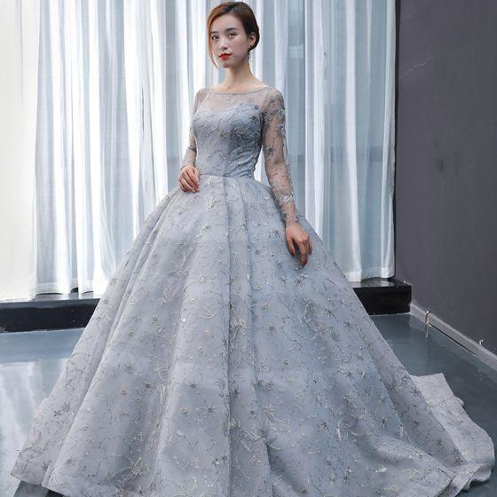 Wysokiej Klasy Szary Przezroczyste Sukienki Na Bal 2020 Suknia Balowa Kwadratowy Dekolt Długie Rękawy Aplikacje Z Koronki Frezowanie Trenem Sweep Wzburzyć Bez Pleców Sukienki Wizytowe