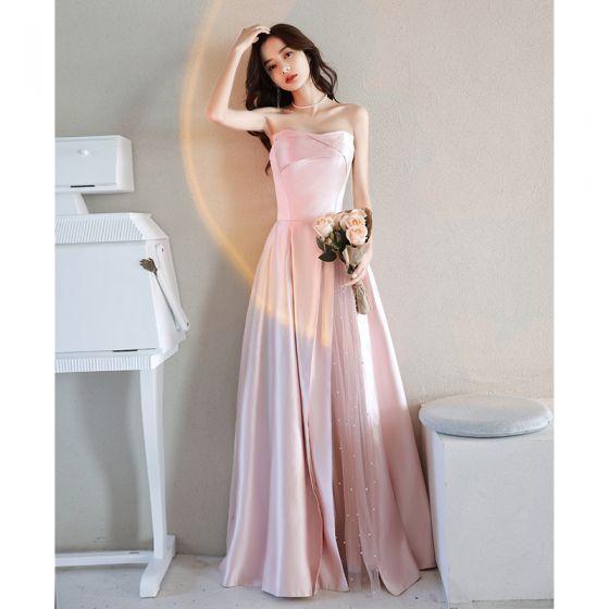 Elegant Candy Pink Pearl Satin Prom Dresses 2021 A-Line / Princess Strapless Sleeveless Backless Floor-Length / Long Formal Dresses