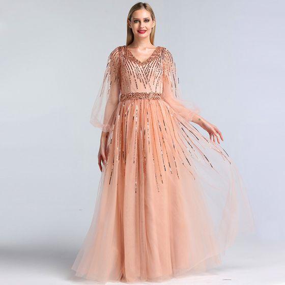 Haut de Gamme Perle Rose Dansant Robe De Bal 2020 Princesse V-Cou Gonflée 3/4 Manches Paillettes Perlage Ceinture Longue Volants Dos Nu Robe De Ceremonie