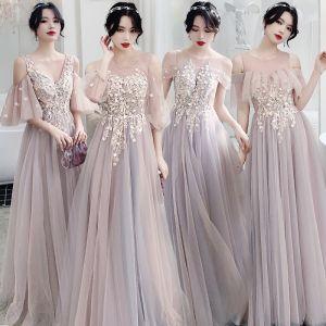 Élégant Rougissant Rose Transparentes Robe Demoiselle D'honneur 2020 Princesse Dos Nu Appliques En Dentelle Longue Volants