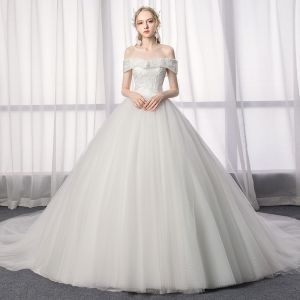 Elegant Ivory Wedding Dresses 2019 A-Line / Princess Off-The-Shoulder Lace Backless Short Sleeve Flower Cathedral Train
