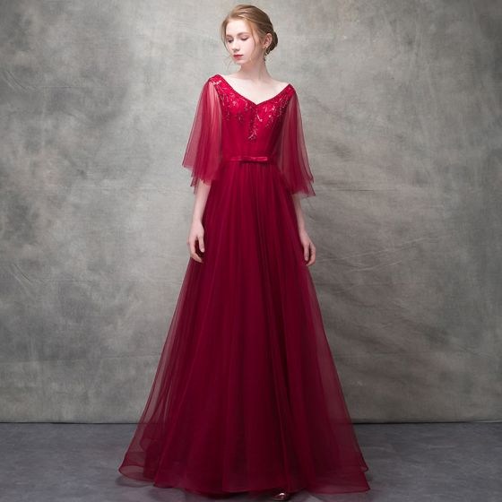 Hermoso Borgoña Vestidos de noche 2017 A-Line / Princess Rebordear Bowknot V-Cuello Sin Espalda 1/2 Ærmer La altura del tobillo Vestidos Formales