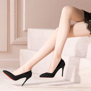 Moda Negro 2017 High Heels 10 cm Glitter Lentejuelas Tacones Fiesta Noche Zapatos De Mujer