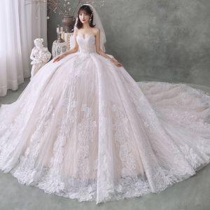 Najlepiej Szampan Suknie Ślubne 2020 Suknia Balowa Kochanie Bez Rękawów Bez Pleców Kwiat Aplikacje Z Koronki Trenem Katedra Wzburzyć