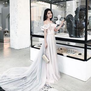 Mode Rosa Abendkleider 2018 A Linie Applikationen Stoffgürtel Off Shoulder Rückenfreies Ärmellos Hof-Schleppe Festliche Kleider