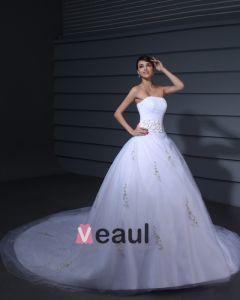 Satin Gaze Gestickte Perlen Gericht Bridal Ballkleid Brautkleid