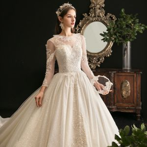 Charming Champagne Ball Gown Glitter Wedding Dresses 2020 Scoop Neck Beading Sequins Lace Flower 3/4 Sleeve Backless Cathedral Train