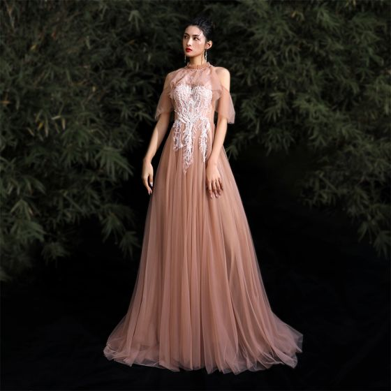 Chic / Beautiful Nude Prom Dresses 2020 A-Line / Princess Halter Beading Sequins Lace Flower Short Sleeve Backless Sweep Train Formal Dresses