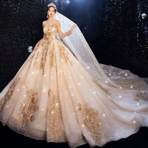 Luxury / Gorgeous Champagne Wedding Dresses 2020 Ball Gown Scoop Neck Beading Crystal Sequins Lace Flower Long Sleeve Backless Royal Train