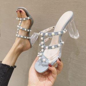 Charmerende Himmelblå Casual Perle Sandaler Dame 2020 9 cm Tykke Hæle Peep Toe Sandaler