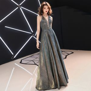 Affordable Grey Evening Dresses  2019 A-Line / Princess Deep V-Neck Sleeveless Glitter Polyester Floor-Length / Long Ruffle Backless Formal Dresses