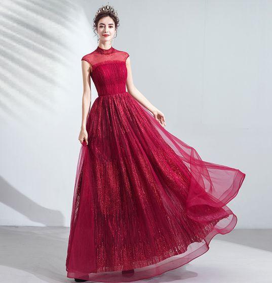 Vintage / Retro Burgundy Evening Dresses  2020 A-Line / Princess Ruffle High Neck Beading Crystal Sequins Sleeveless Backless Floor-Length / Long Formal Dresses