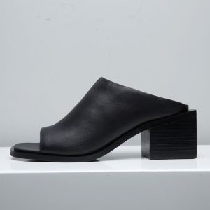 Enkel Svart Sandaler Dame 2017 Mid Hæl Tykk Hæler Peep Toe Sandaler