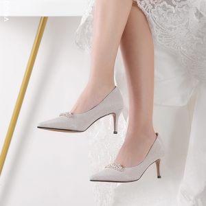 Schöne Silber Brautschuhe 2019 6 cm Polyester Perlenstickerei Strass Stilettos High Heels Spitzschuh Hochzeit Hochhackige