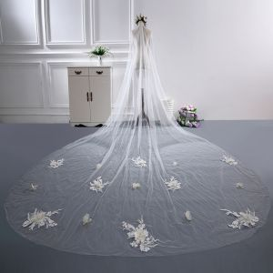 Flower Fairy White Cathedral Train Wedding Tulle Appliques Beading Wedding Veils 2018