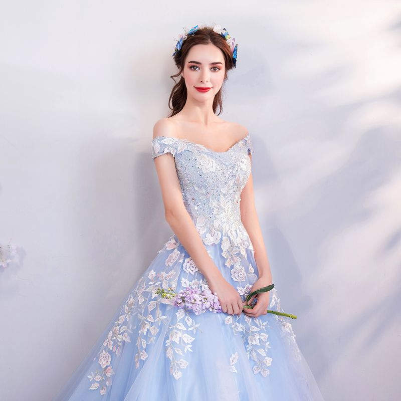 Chic / Beautiful Sky Blue Prom Dresses 2018 A-Line / Princess Off-The-Shoulder Short Sleeve Appliques Lace Sequins Pearl Crystal Chapel Train Ruffle Backless Formal Dresses