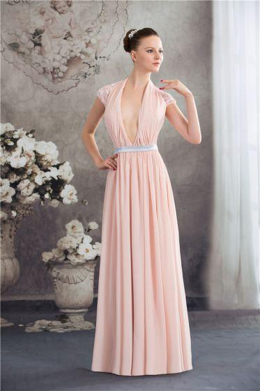 71ccdde4f4 Una Línea Profunda V-cuello Halter De Gasa De Color Rosa Vestidos De Noche