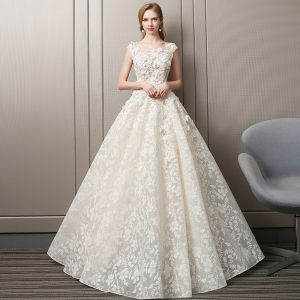 Charming Champagne Pierced Wedding Dresses 2018 A-Line / Princess Scoop Neck Cap Sleeves Backless Flower Rhinestone Appliques Lace Ruffle Court Train