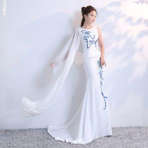 Luxus Kinesisk Stil Hvide Retten Tog Selskabskjoler 2018 Havfrue U-udskæring Charmeuse Broderet Beading Rhinestone Selskabs Kjoler