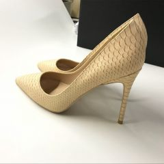 Modest / Simple Beige Casual Pumps 2019 Leather Snakeskin Print 10 cm Stiletto Heels Pointed Toe Pumps