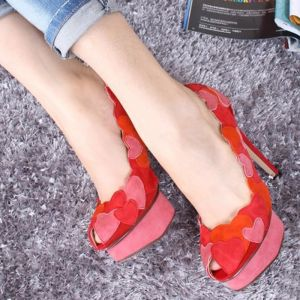 Chic / Beautiful Red Pumps 2018 Heart-shaped Leather 12 cm Stiletto Heels Platform Open / Peep Toe Pumps