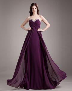 Sweetheart Perlen Ruffle Bodenlangen Chiffon Abendkleid Frau