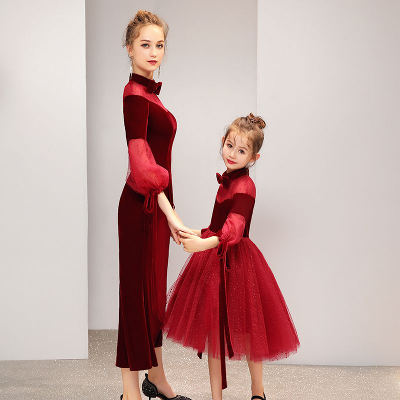 Chic / Beautiful Burgundy Suede See-through Evening Dresses  2019 Bow High Neck Puffy 3/4 Sleeve Star Tulle Tea-length Ruffle Formal Dresses