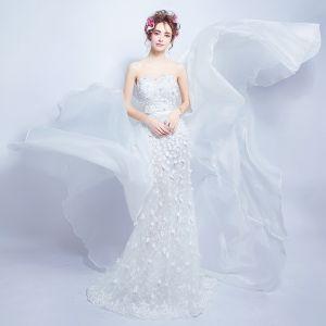 Sexy Weiß Brautkleider 2018 Mermaid Applikationen Perle Stoffgürtel Bandeau Rückenfreies Ärmellos Abnehmbar Hof-Schleppe Hochzeit
