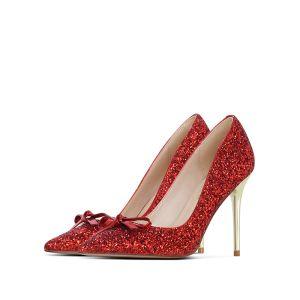 Scintillantes Rouge Soirée Glitter Paillettes Escarpins 2020 Noeud 10 cm Talons Aiguilles À Bout Pointu Escarpins
