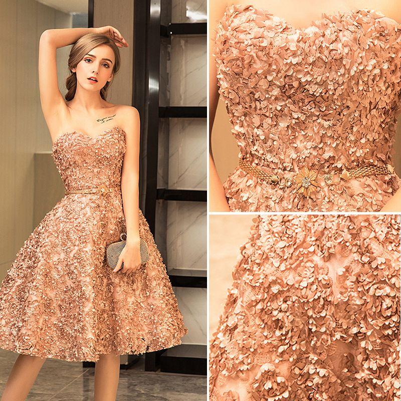 Modern / Fashion Champagne Party Dresses 2017 Sweetheart Sleeveless Ruffle Knee-Length Metal Sash