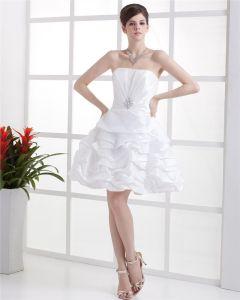 Bustier Strass Manche De Lacet Des Mini Longueur Taffetas Des Robes De Mariée De La Femme