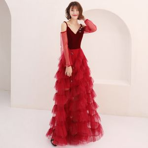 Sexy Burgundy Summer Prom Dresses 2019 A-Line / Princess Spaghetti Straps Puffy Long Sleeve Star Appliques Sequins Floor-Length / Long Cascading Ruffles Backless Formal Dresses