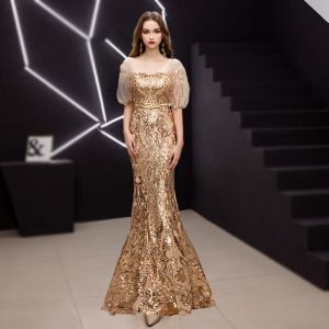 Sparkly Gold Evening Dresses  2019 Trumpet / Mermaid Square Neckline Sequins Short Sleeve Backless Sash Floor-Length / Long Formal Dresses