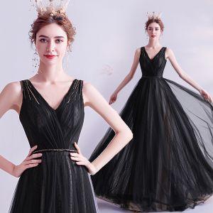 Hermoso Negro Vestidos de noche 2020 A-Line / Princess V-Cuello Rebordear Crystal Sin Mangas Sin Espalda Largos Vestidos Formales
