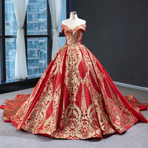 Luxury / Gorgeous Red Prom Dresses 2020 Ball Gown Off-The-Shoulder Short Sleeve Gold Appliques Sequins Chapel Train Ruffle Backless Formal Dresses