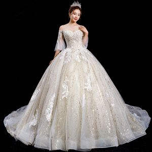 High-end Champagne Wedding Dresses 2020 Ball Gown Off-The-Shoulder Bell sleeves Backless Glitter Tulle Appliques Lace Beading Royal Train Ruffle