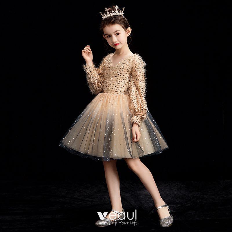 Long Bridesmaid Dresses Rose Gold Sequins Mermaid Short