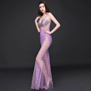 Sexy Formal Dresses 2017 Evening Dresses  Lilac Trumpet / Mermaid Floor-Length / Long Backless Spaghetti Straps Sleeveless Sequins
