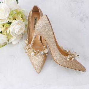 Único Champán Zapatos de novia 2019 Cuero Rebordear Crystal Rhinestone Punta Estrecha 9 cm Zapatos De Mujer