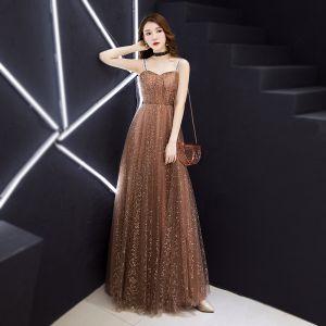 Stylowe / Modne Szampan Sukienki Wieczorowe 2019 Princessa Bez Rękawów Plecy Cekinami Cekiny Długie Wzburzyć Bez Pleców Sukienki Wizytowe