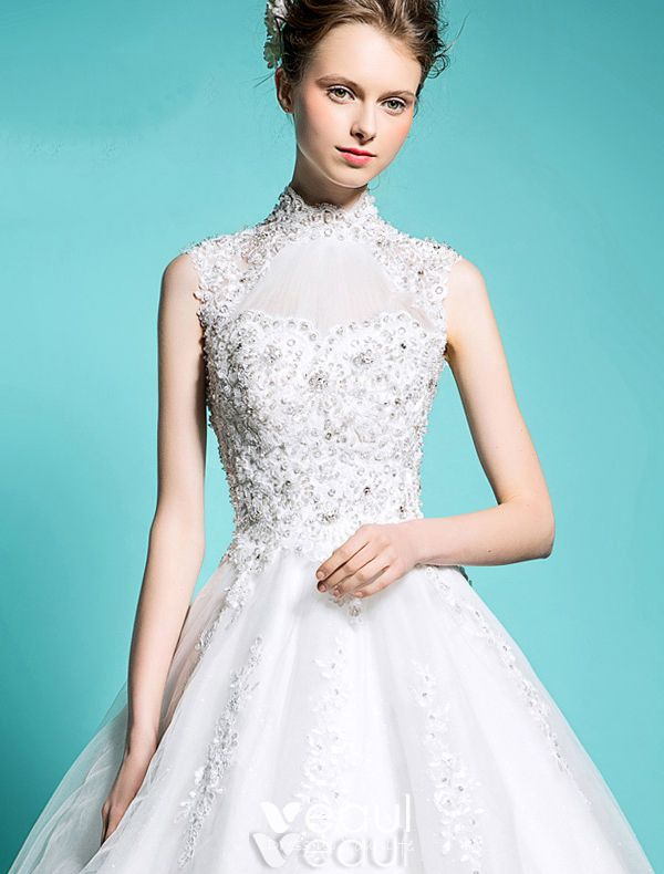 Elegant Pincess Wedding Dresses 2016 A-line High Neck Beading Sequins Applique Lace Bridal Gown With Long Tailing