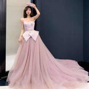 Charming Blushing Pink Evening Dresses  2019 A-Line / Princess Spaghetti Straps Sleeveless Bow Sash Court Train Ruffle Backless Formal Dresses