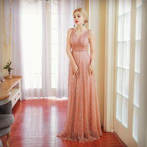 Elegant Perle Pink Selskabskjoler 2017 Prinsesse Glitter Blonde Perle Bælte V-Hals Halterneck Ærmeløs Lange Kjoler