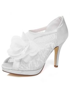 Chic Lace Bridal Shoes Pumps 4 Inch Stiletto Heels White Wedding Shoes High Heels With Flower