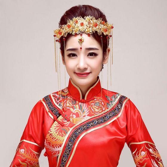 Kinesisk Stil Klassiske Brude Medaljon / Hoved Blomst / Bryllup Hårpynt / Bryllup Smykker