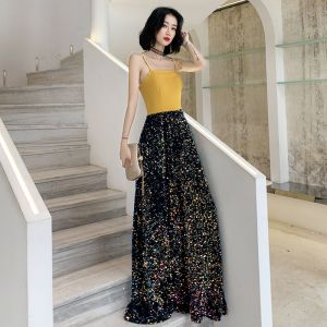 Two Tone Yellow Navy Blue Evening Dresses  2020 A-Line / Princess Spaghetti Straps Sleeveless Sequins Floor-Length / Long Backless Formal Dresses
