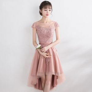 Encantador Perla Rosada Vestidos de graduación 2017 A-Line / Princess De Encaje Flor De Tiras Scoop Escote Manga Corta Sin Espalda Vestidos Formales
