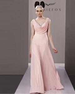 Fashion V Hals Golv Langd Beading Chiffongklänning Charmeuse Kvall