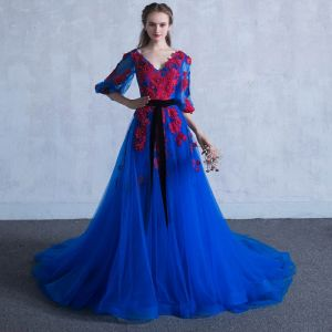 Chic / Beautiful Royal Blue Prom Dresses 2018 A-Line / Princess V-Neck 3/4 Sleeve Appliques Flower Pearl Sash Chapel Train Ruffle Backless Formal Dresses