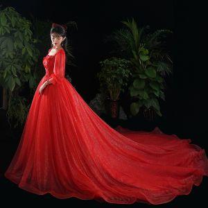 Schöne Rot Brautkleider / Hochzeitskleider 2020 A Linie Spitze Blumen Applikationen Pailletten Eckiger Ausschnitt 1/2 Ärmel Kathedrale Schleppe